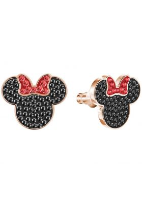 Swarovski Mickey & Minnie Pierced Earrings, Black, Rose Gold Plating