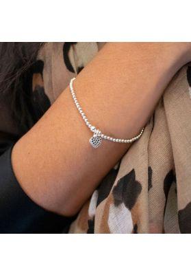 Annie Haak Santeenie Silver Charm Bracelet - Black Sparkling Heart