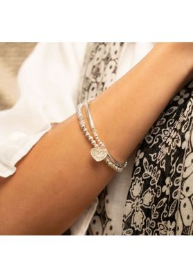 Annie Haak Santeenie Silver Charm Bracelet - Sparkling Heart