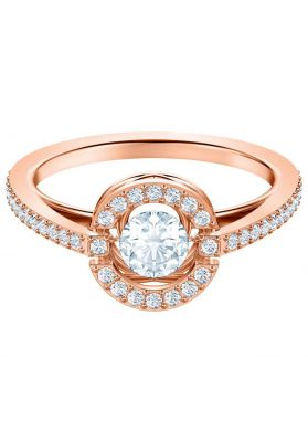 Swarovski Sparkling Dance Round Ring, White, Rose Gold Plating