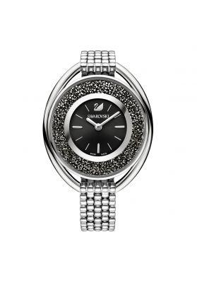 Swarovski_Crystalline_Oval_Silver_&_Black_Metal_Watch