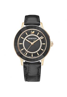 Swarovski Octea Lux Watch, Leather Strap, Black, Rose Gold Tone