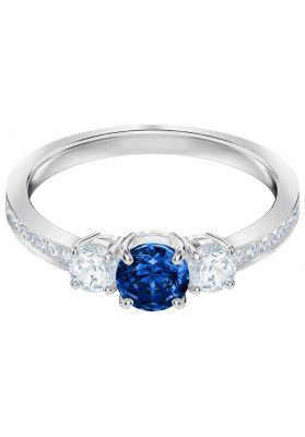 f1d1a2e65 Swarovski Attract Trilogy Round Ring, Blue, Rhodium Plating ...