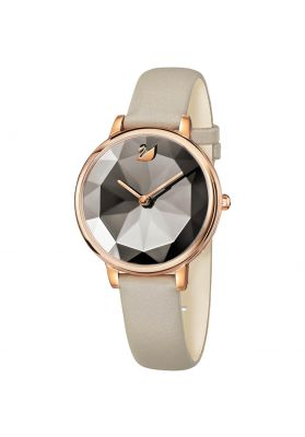Swarovski Crystal Lake Watch, Leather Strap, Grey, Rose Gold Tone
