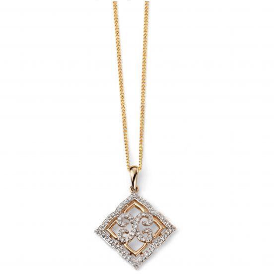 Elements Gold 9ct Yellow Gold Diamond Lace Pendant GP2034