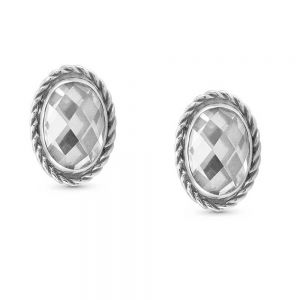 Nomination White Zirconia Silver Oval Stud Earrings 027801_010