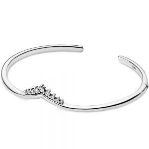 Pandora Tiara Wishbone Open Bangle-598338cz-16, 598338cz-17.5, 598338cz-19