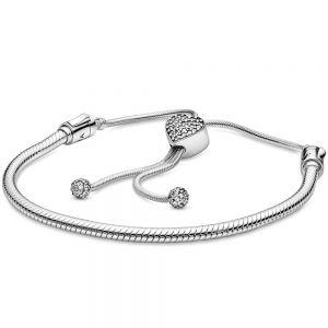 Pandora Moments Pavé Heart Clasp Snake Chain Slider Bracelet 598699c01-2