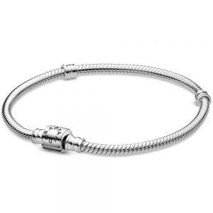 Pandora Moments Barrel Clasp Snake Chain Bracelet-598816c00-16, 17, 18, 19, 20, 21, 23