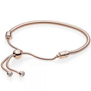 Pandora Moments Snake Chain Sliding Rose Bracelet 587125CZ-2