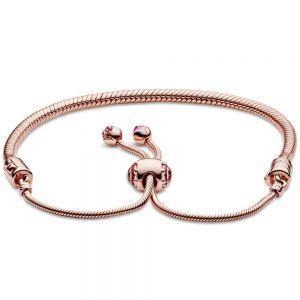 Pandora Moments Pink Peach Blossom Flower Snake Chain Slider Bracelet 588093NCCMX-2