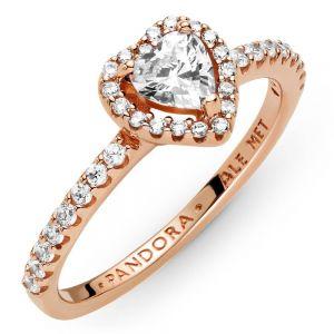 Pandora Rose Sparkling Elevated Heart Ring 188421C02