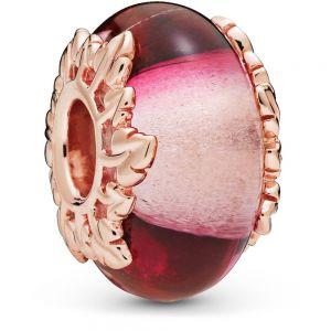 Pandora Pink Murano Glass & Leaves Charm 788244