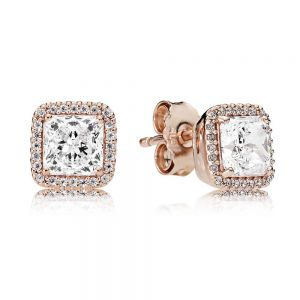 Pandora Square Sparkle Halo Rose Stud Earrings-280591cz