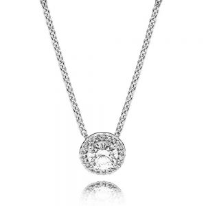 Pandora Round Sparkle Halo Necklace 45cm 396240CZ