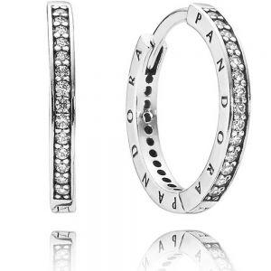 Pandora Sparkle & Pandora Logo Hoop Earrings 290558CZ