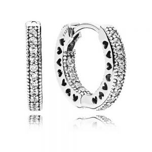 Pandora Pavé Heart Hoop Earrings 296317CZ