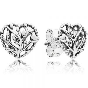 Pandora Family Tree Heart Stud Earrings-297085
