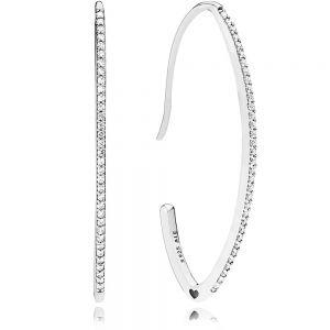Pandora Oval Sparkle Hoop Earrings-297691cz