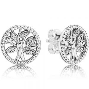 Pandora Sparkling Family Tree Stud Earrings-297843cz