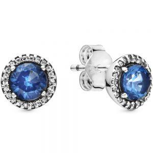 Pandora Blue Round Sparkle Stud Earrings-296272c01