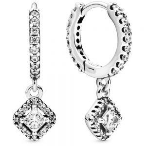 Pandora Square Sparkle Hoop Earrings-298503c01
