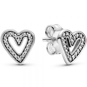 Pandora Sparkling Freehand Heart Stud Earrings-298685c01