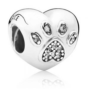 Pandora I Love My Pet Paw Print Heart Charm 791713CZ