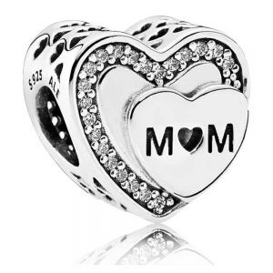 Pandora Sparkling Mum Heart Charm 792070cz