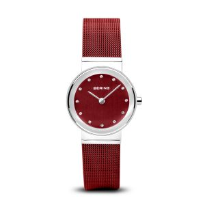 Bering Ladies Classic Watch -  Polished Silver and Red - 10126-303