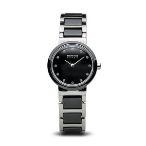 Bering Ladies Black Ceramic and Stainless Steel Compact Watch 10725-742