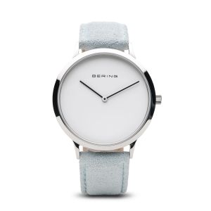 Bering Unisex Classic Polished Silver Watch - Light Blue Strap  14937-804