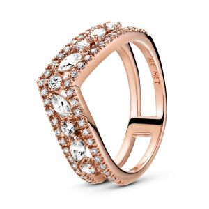 Pandora Rose Sparkling Marquise Double Wishbone Ring 189095C01