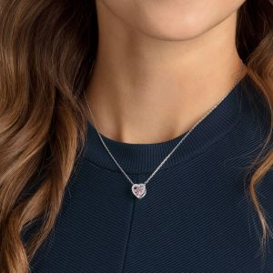 Swarovski Sparkling Dance Heart Necklace, Pink, Rhodium Plating 5465284