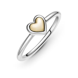 Pandora Domed Golden Heart Ring 199396C00