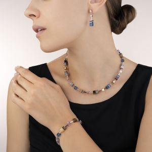 Coeur De Lion GeoCUBE Earrings - Blue Brown Lilac 2839210740