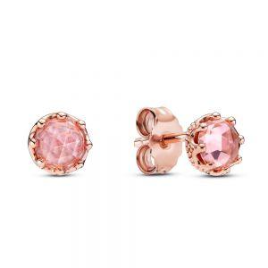 Pandora Pink Sparkling Crown Stud Earrings-288311c01