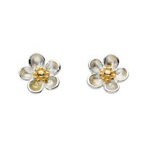 Kit Heath Blossom Wood Rose Gold Plate Stud Earrings 30305GD012