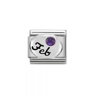 Nomination Classic Sterling Silver February Amethyst Birthstone Charm 330505_02