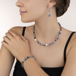 Coeur De Lion GeoCUBE Necklace - Blue Sodalite and Hematite 4017100700