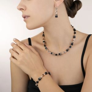 Coeur De Lion GeoCUBE Earrings - Onyx Black and Rose Gold 4018201300