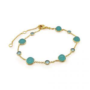 Sarah Alexander Aqua Calci Cabuchon and Chain Bracelet