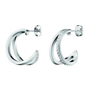 Calvin Klein Outline Hoop Earrings - Stainless Steel and Crystal