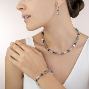 Coeur De Lion GeoCUBE Necklace - Lilac-Green Crystals and Gemstones 4905100840