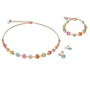 Coeur De Lion Rose Gold and Aquamarine GEOCUBE Earrings 4996211500