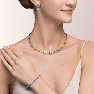 Coeur De Lion GeoCUBE Necklace - Silver and Pastel Couple 5020101522