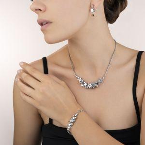 Coeur De Lion GeoCUBE Cluster Earrings - Silver and Rose 5037211723
