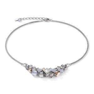 Coeur De Lion GeoCUBE Cluster Necklace - Silver and Rose 5037101723