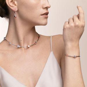 Coeur De Lion GeoCUBE Bracelet - Haematite and Silver Red Crystals 5043300300