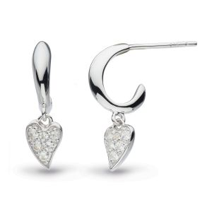 Kit Heath Desire Precious White Topaz Heart Hoop Drop Earrings 50506WT